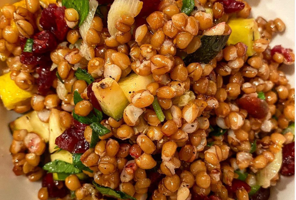 Veggie packed wheat berry salad
